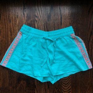 Vineyard Vines Turquoise Beaded Linen Shorts, xs